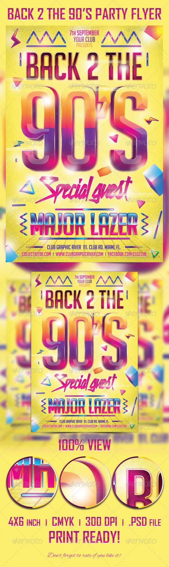 90s party party flyer and flyer template on pinterest for Poster template 90 x 120cm