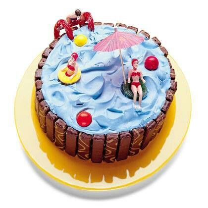 A Pool Party , cake