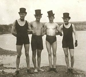 You see lots of vintage women in swimsuits but this one caught my eye because 1) they are men and 2) the are so very dapper! <img src=
