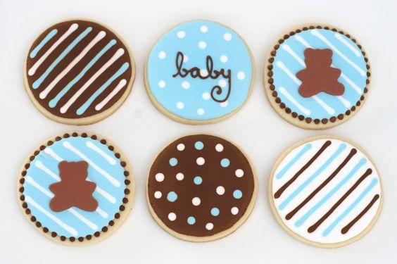 decorated sugar cookies » Baby Shower Treats  teddy bear?  elephant or bird instead?
