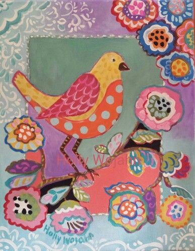 Bright Boho Bird, Branching with Blossoms...
