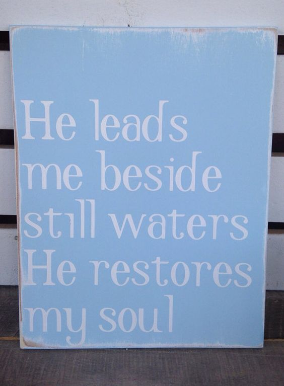 He leads me psalm 23 verse painted wooden sign home decor for Bible verse decor