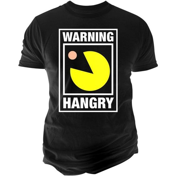 Changes Men's Warning Hangry Pac-Man T-Shirt ($9.99) ❤ liked on Polyvore featuring men's fashion, men's clothing, men's shirts, men's t-shirts, black, mens t shirts and mens graphic t shirts