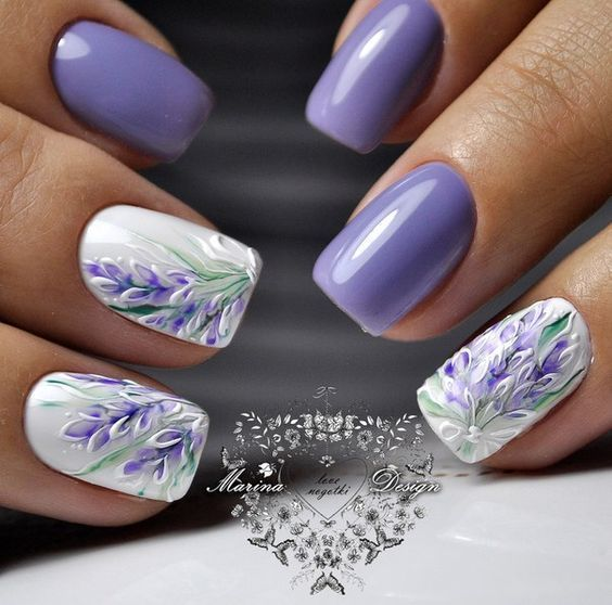 Beautiful Lavender Purple Nail Design Purple Wedding Purple