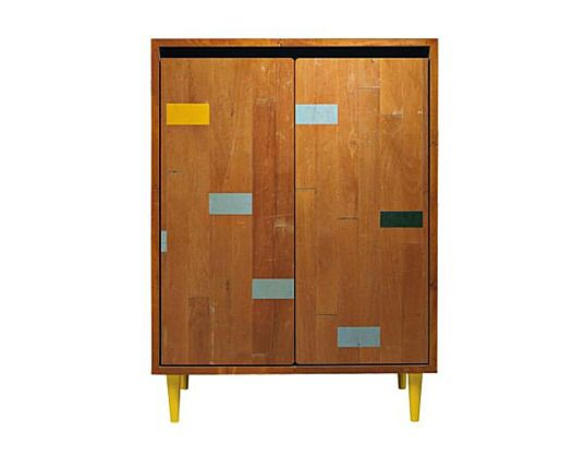 Modern Cabinets Built From Recycled Gymnasium Floorboards To Be Cupboards And Reclaimed Furniture