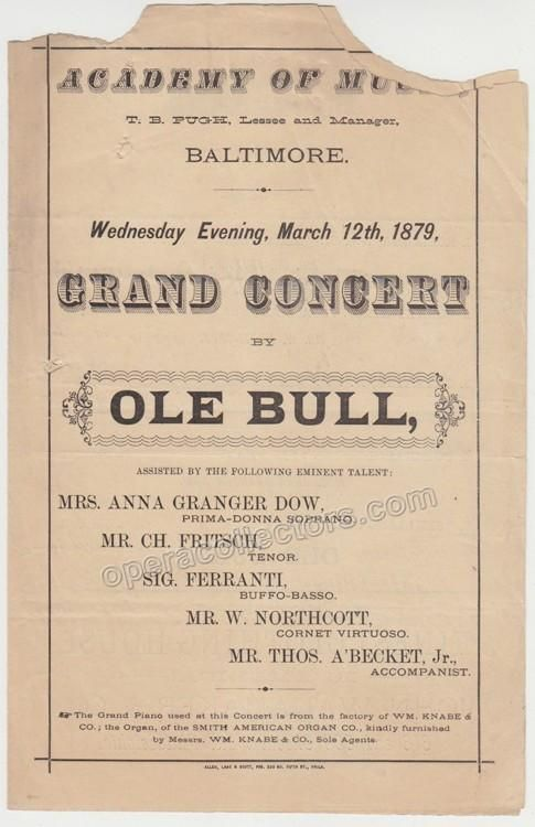Bull, Ole - Concert Program 1879 in Philadelphia Products - concert program