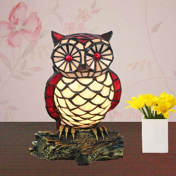 - end tiffany lamp uil creatieve kinderen slaapkamer nachtkastje lamp ...