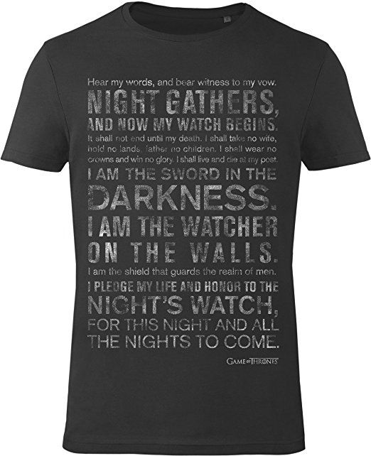 GOZOO Game of Thrones T-Shirt Men Night's Watch Oath 100% Cotton, High Quality Print Black S