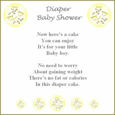 Diaper Cake Recipe Poem