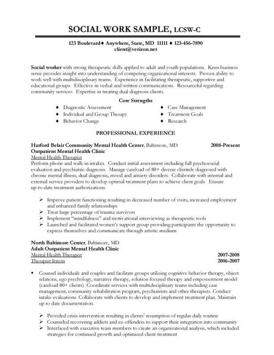 Sample Social Work Resume Examples | Career - Social Worker