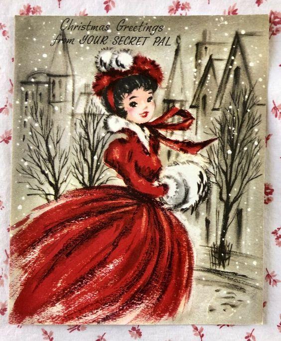 Vintage UNUSED 1940s Christmas Card Pretty Woman Red Gown White Fur Secret Pal | eBay