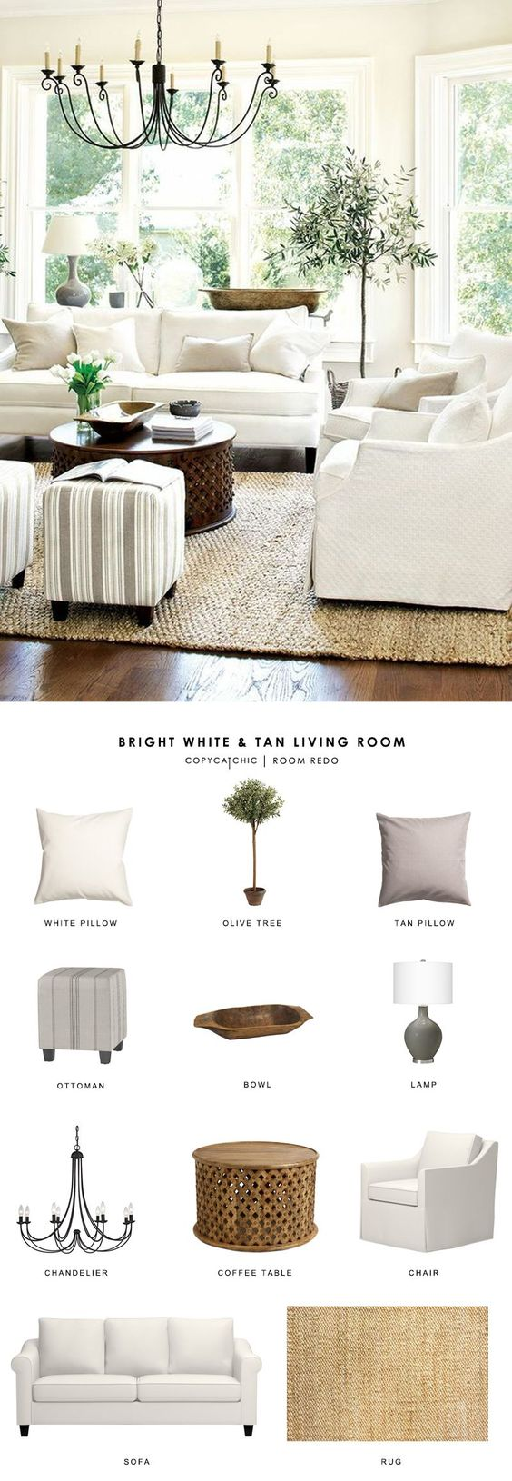 Copy Cat Chic Room Redo | Bright White and Tan Living Room