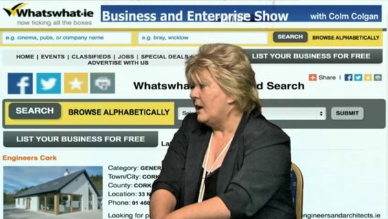 Barbara explains to Colm that  www.whatswhat.ie is a full feature B2C and B2B platform that offers  a professional presence on the Internet and provides customers with tools that will help them grow their business and interact with  customers and other businesses.