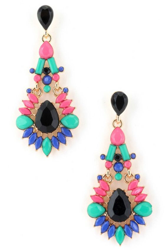 Acrylic Jewel Teardrop Earring-Black/Multi