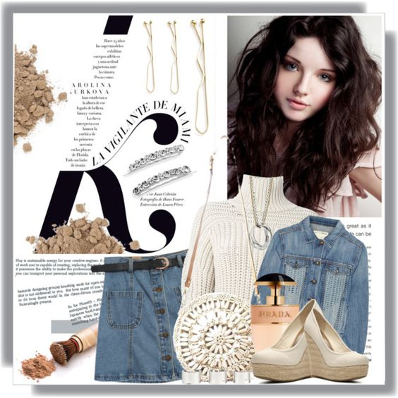 """Denim on Denim""....with a bit of Crochet by queenrachietemplateaddict on Polyvore featuring polyvore moda style Brunello Cucinelli rag & bone/JEAN Chicnova Fashion Madden Girl Aranáz Maison Margiela Crystal Allure Prada KAROLINA"