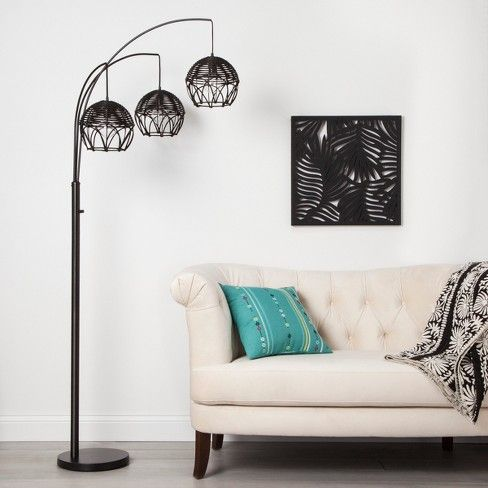 Switch up your lighting with the unique look of the Rattan 3-Head Arc Floor  Lamp from Opalhouse™. With th… | Black floor lamp, Arc floor lamps, Floor  lamp