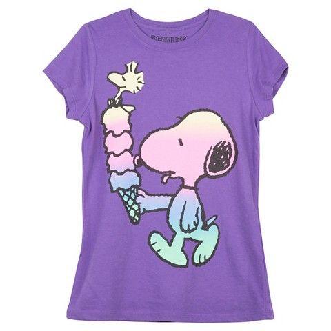Snoopy Girls' T-Shirt Purple