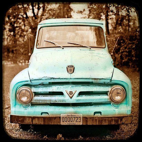Car Art Vintage Decor Americana Teal Truck  by CarlChristensen, $145.00