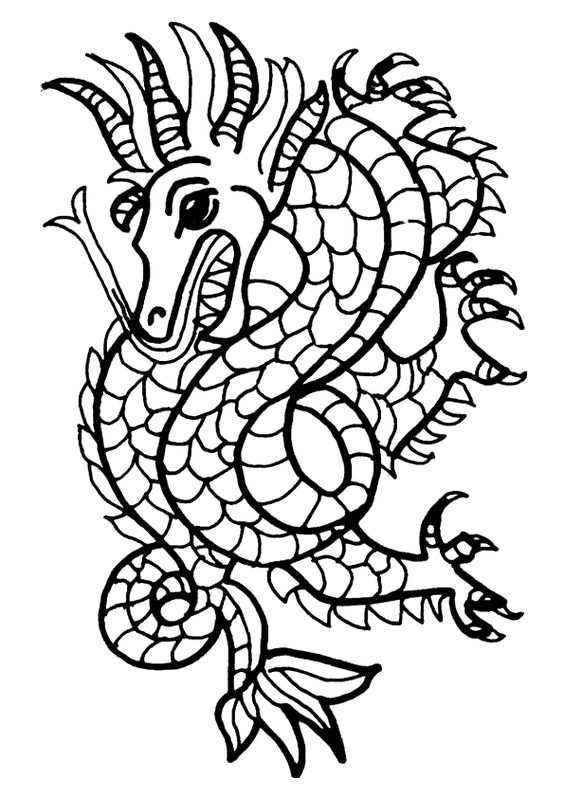 Dessin colorier d un dragon qui sort sa langue - Dragon a colorier ...