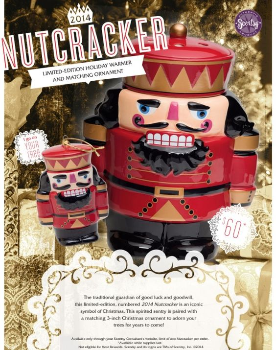 Only available for a LIMITED time!!! Numbered Nutcracker Warmer that comes with a matching hand painted collectible Nutcracker Ornament!! Only available to purchase through my personal Scentsy web page November 1st - November 7th : www.awakenurscentses.scentsy.us Delivered right to your front door!!!