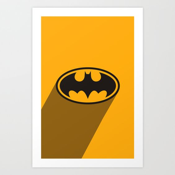 SuperHero long shadow: Batman Art Print by Yellow Dust - NA | Society6