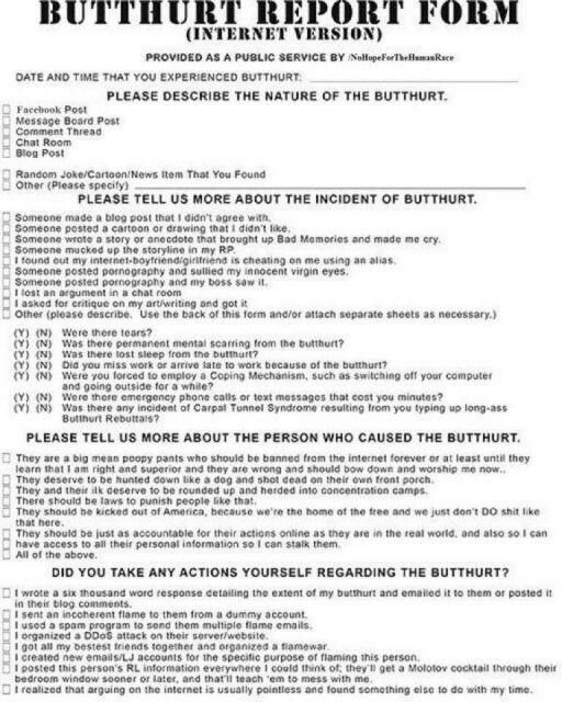 Butt hurt report form Facebook meme Pinterest Meme - patient incident report form