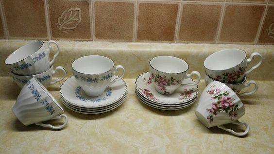 Many additional Tea Cups and Saucers included