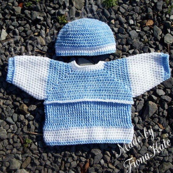 Crochet baby Jumper & hat set  6 to 12 months by madebyFionaKate