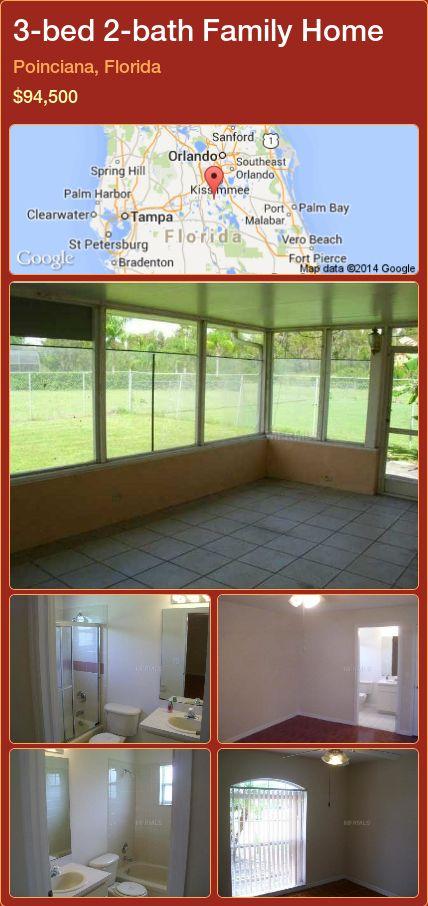3-bed 2-bath Family Home in Poinciana, Florida ►$94,500 #PropertyForSaleFlorida http://florida-magic.com/properties/36028-family-home-for-sale-in-poinciana-florida-with-3-bedroom-2-bathroom
