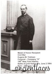 """Eugene M. Tinkham - Corporal 148th Company """"H"""" New York Infantry - Medal of Honor Recipient - Battle of Cold Harbor, VA. June 3, 1864."""