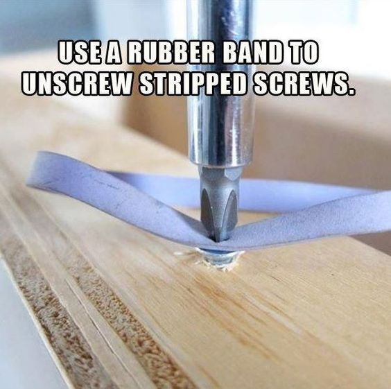 Use a rubber band to unscrew stripped screwes. #tips #tricks #hacks