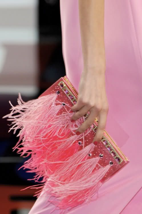 candy pink feather jeweled Valentino clutch