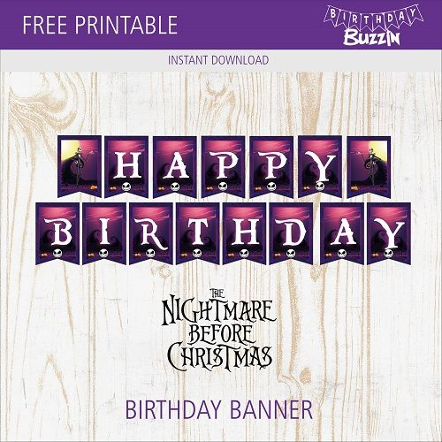Free Printable Nightmare Before Christmas Birthday Banner With