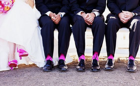 hot pink wedding shoes and socks... love it haha