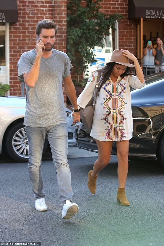 Not long to go! Kourtney Kardashian dressed her baby bump in a festive frock as she steppe...