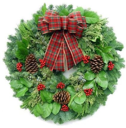Red Deluxe Door Wreath - $48.95 »  You can't go wrong with a traditional wreath of fresh greenery, pinecones and a big plaid bow.