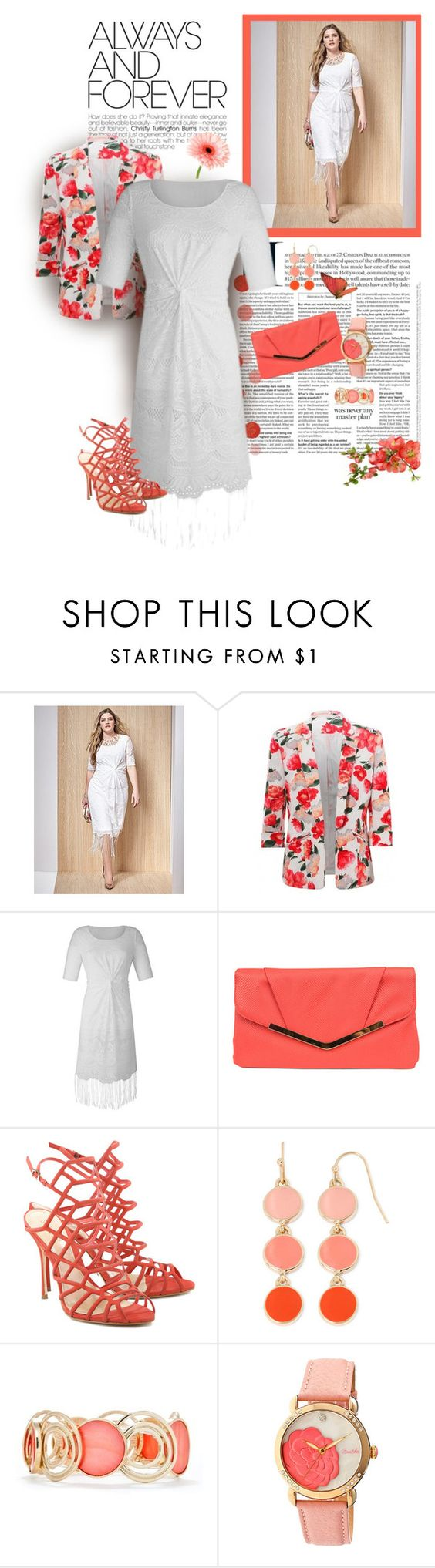 """""""Plus Size Lace & Wrap Dress"""" by feelgood35 ❤ liked on Polyvore featuring Gunne Sax By Jessica McClintock, Schutz, Liz Claiborne and New Directions"""