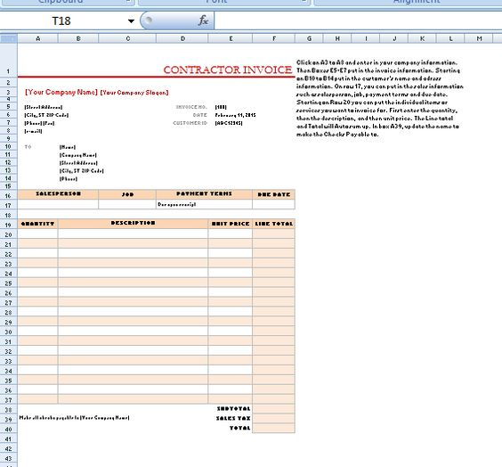 Contractor Invoice is a statement that gives a brief idea about - contractor invoice