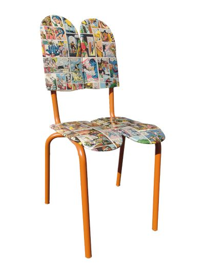 Chairskate (skateboards) chair, made from an old schoolchair structure, Batman & Robin comics, and used skateboards