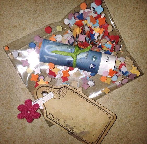 Geld geven als cadeau in een zakje met confetti, feestelijk!