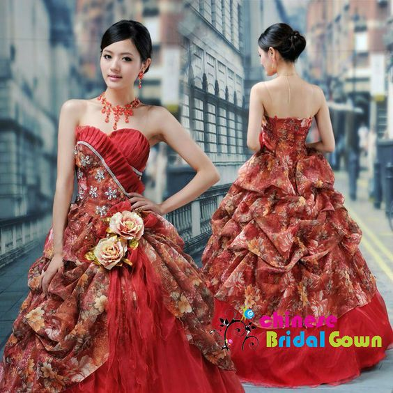 Style 100110, Superb Organza Ball Gown Sweetheart Chinese Wedding Dress by CBG.