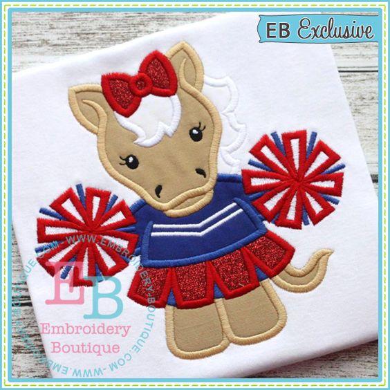 Girl Mustang Mascot Applique