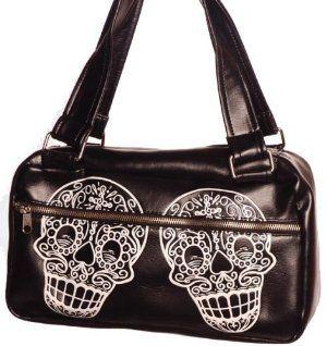 Beautiful vinyl bag with Dios De La Muerta sugar skulls...