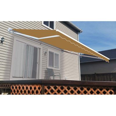 Aleko 12ft W X 10ft D Retractable Awning Replacement Fabric Size 12 H X 144 W X 120 D Color Sand Patio Awning Patio Canopy Patio