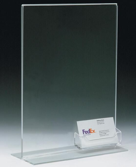 8 5 X 11 Acrylic Sign Holder With Pocket For Business Cards T Style Clear Business Card Displays Acrylic Sign Custom Business Card Holder