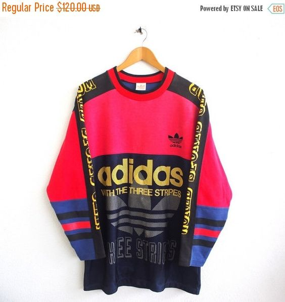 BIG SALE 25 % Vintage 80er Jahre ADIDAS Big Logo Hip Hop Trefoil Sportswear Multicolor Neon Run Dmc Pullover Rundhals Pullover Sweatshirt Größe L