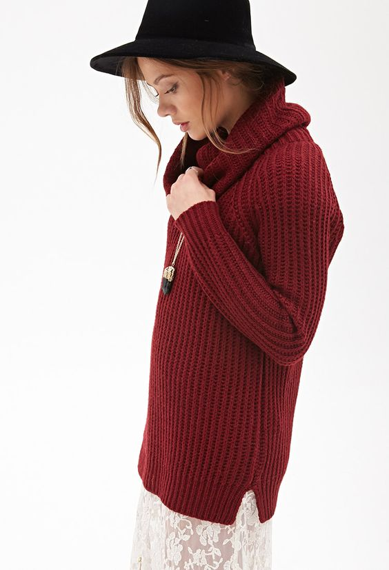 Ribbed Cowl Neck Sweater | FOREVER21