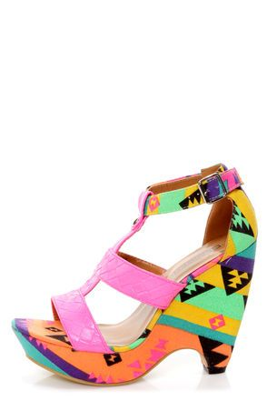 Fiebiger Bubble Gum Neon Pink Print T-Strap Wedge Sandals