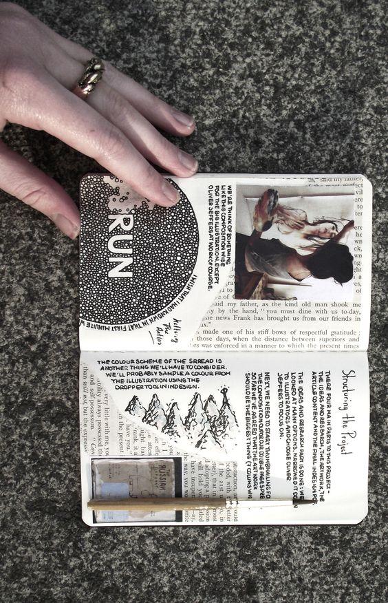 Moleskine collage journal. I love Moleskine notebooks.