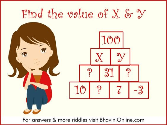 Numerical Riddle Find The Value Of X Y In The Pyramid Bhavinionline Com Riddles Maths Puzzles Mind Puzzles